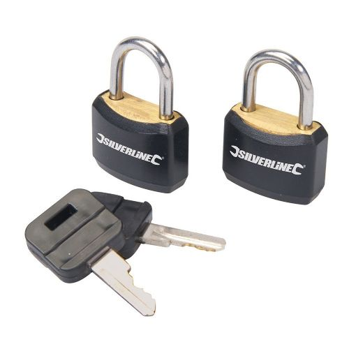 2 Piece Silverline 663004 Keyed Alike Luggage Padlock Set 20mm